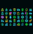 recycle factory icons set neon vector image vector image