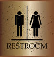 restroom symbol toilet sign on bronze gradient vector image