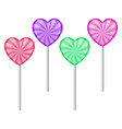set 4 sweet realistic colorful lollipops vector image vector image
