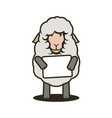 sheep mascot with tablet with your text vector image