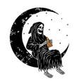 skull grim on moon vector image vector image