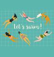 swimming women design vector image vector image