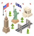 symbol of usa icons set concept travel isometric vector image