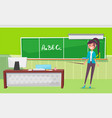 teacher standing near chalkboard with letters vector image vector image