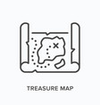 treasure map flat line icon outline vector image