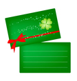 Two Greeting Card of Four Leaf Clovers vector image