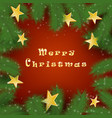 christmas tree branches and stars background vector image