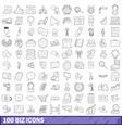 100 biz icons set outline style vector image vector image
