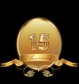 15th golden anniversary birthday seal icon vector image vector image
