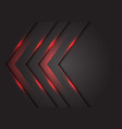 abstract red light 3d arrow direction on dark grey