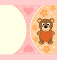 background card with funny bear cartoon vector image vector image