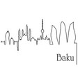 Baku city one line drawing background