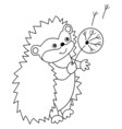 Black And White Hedgehog vector image vector image