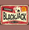 blackjack retro casino sign vector image