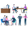 business cooperation man and woman workers vector image vector image