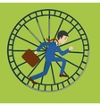 Businessman in hamster wheel cartoon
