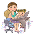 Busy mother works with kids vector image vector image