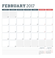 Calendar Planner Template for February 2017 Week vector image vector image