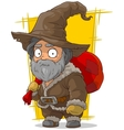 Cartoon old traveler in big hat vector image vector image