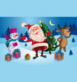 christmas card with santa reindeer and snowman vector image