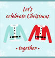christmas romantic card with sweaters vector image vector image