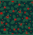 Christmas seamless pattern with holly berries