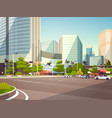 city car parking over skyscraper buildings modern vector image vector image