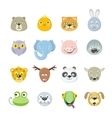 collection cute face animal vector image vector image