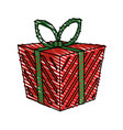 Color crayon stripe cartoon christmas giftbox with vector image