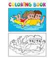 coloring book swimming theme 3 vector image vector image