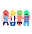 customer feedback people holding emoticons vector image vector image