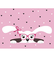 Cute bunny girl with glasses on pink heart vector image vector image