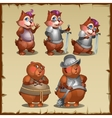 Cute mouse in armor and a steel Mace vector image vector image