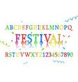 font alphabet colored confetti vector image vector image