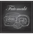 Futomaki roll on a blackboard vector image vector image