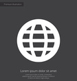 globe premium icon white on dark background vector image vector image