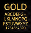 gold alphabetical letters and numbers vector image