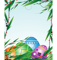 Green branches and bright Easter Eggs vector image vector image