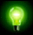 green light bulb pixel art on black vector image vector image
