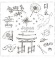 Hand drawn doodle Japan symbols set vector image vector image