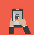 hands hold smartphone with lock screen vector image vector image