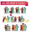 Happy family icon multicolored set in simple vector image vector image