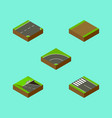 isometric road set of bitumen strip underground vector image vector image