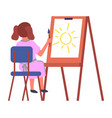 little girl sitting on chair and drawing vector image vector image