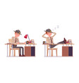 male sheriff working at desk and resting vector image vector image