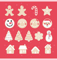 merry christmas gingerbread set vector image vector image
