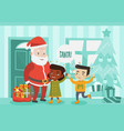 multicultural children meeting santa claus vector image