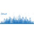 outline detroit michigan skyline with blue vector image vector image