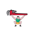 Plumber Weightlifter Lifting Monkey Wrench Cartoon vector image vector image