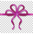 purple thin bow on transparent background vector image vector image